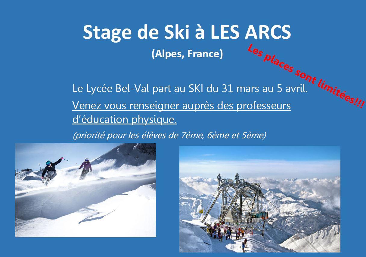 Stage de ski à Les Arcs 2019